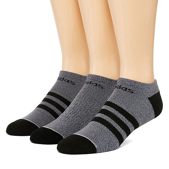 adidas Men's Core Stripe 3 Pair No Show Socks-Extended