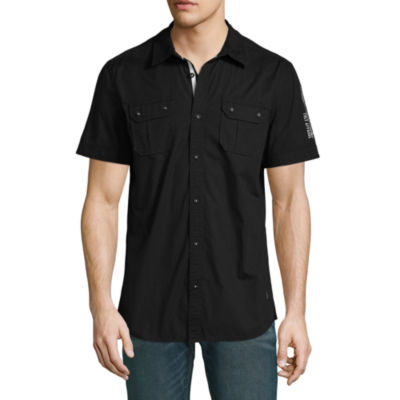 i jeans by Buffalo Mens Y Neck Short Sleeve Button-Front Shirt