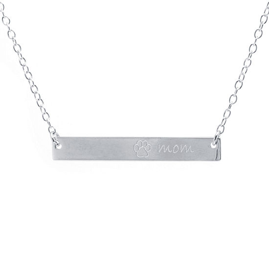 "Silver Treasures Womens ""Mom"" Pendant Necklace"