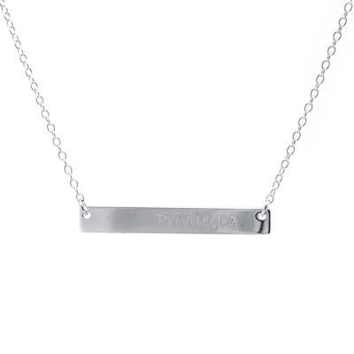 "Silver Treasures Womens ""Privileged"" Pendant Necklace"