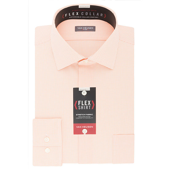 Van Heusen Wrinkle-Free Flex Collar Mens Spread Collar Long Sleeve Stretch Dress Shirt