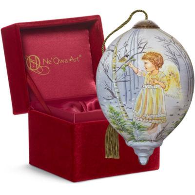 "Ne'Qwa Art  ""Winter Angel"" Artist Dona Gelsinger  Petite Princess-Shaped Glass Ornament  #7151130"