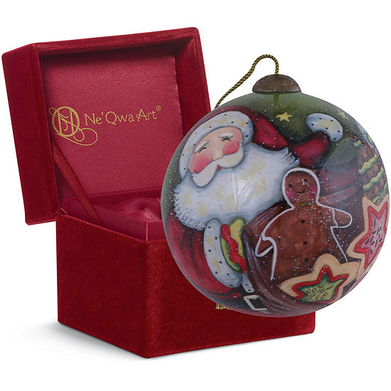 "Ne'Qwa Art  ""Santa's Christmas Cookies"" Artist Susan Winget  Petite Round-Shaped Glass Ornament  #7151175"