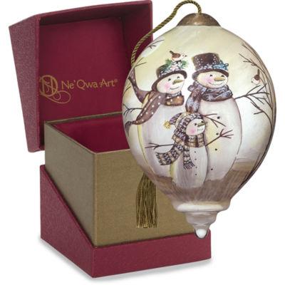 "Precious Moments Ne'Qwa Art  ""Snow Family"" Artist Sarah Summers  Petite Princess-Shaped Glass Ornament  #7151113"