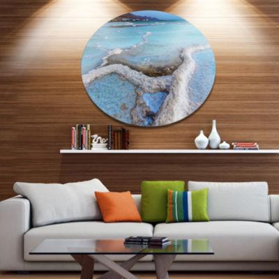 Designart Beautiful Coast of the Dead Sea Disc Large Beach Large Metal Circle Wall Art