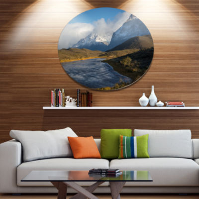 Designart Beautiful View of Torres del Paine DiscLarge Beach Large Metal Circle Wall Art