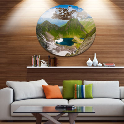 Designart Mountain Lake View on Bright Day Disc Large Landscape Large Metal Circle Wall Art