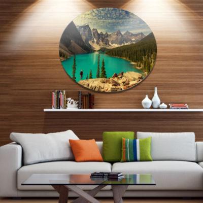 Designart Beautiful Moraine Mountain Lake Disc Large Landscape Large Metal Circle Wall Art