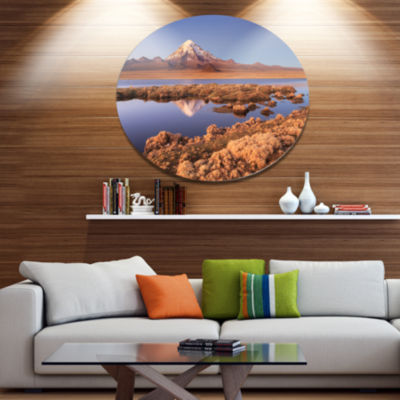 Designart Sajama National Park Bolivia Disc LargeLandscape Large Metal Circle Wall Art