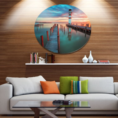Designart Lighthouse at Lake in Neusiedl am See Disc Large Landscape Large Metal Circle Wall Art