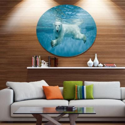 Designart Polar Bear Swimming under Water Disc Large Animal Metal Artwork