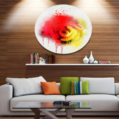 Designart Beautiful Red Yellow Rose Watercolor Disc Flowers Large Metal Circle Wall Artwork