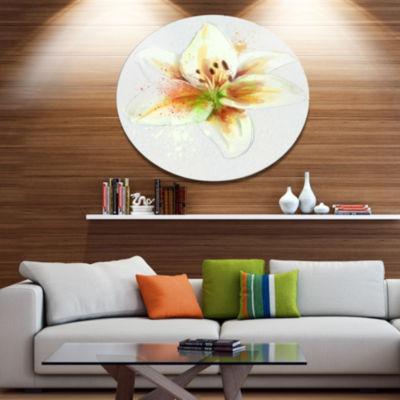 Designart Cute Lily Flower Watercolor Sketch DiscFlowers Large Metal Circle Wall Artwork