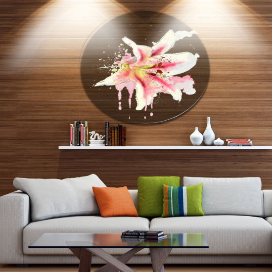 Designart Pink Yellow Lily Watercolor Sketch DiscFlowers Large Metal Circle Wall Artwork