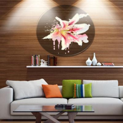 Designart Pink Yellow Lily Watercolor Sketch DiscFlowers Large Metal Circle Wall Artwork