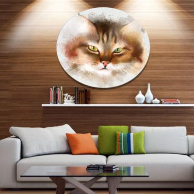 Designart Bold Brown Cat Watercolor Sketch Disc Large Animal Metal Artwork