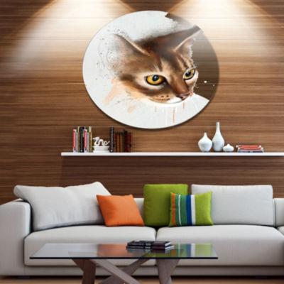 Designart Anxious Brown Cat Watercolor Sketch DiscLarge Animal Metal Artwork