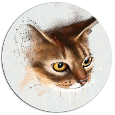 Designart Anxious Brown Cat Watercolor Sketch DiscLarge Animal Metal Artwork