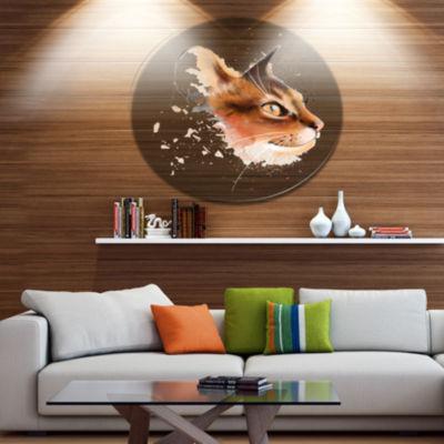 Designart Lovely Brown Cat Watercolor Sketch DiscLarge Animal Metal Artwork
