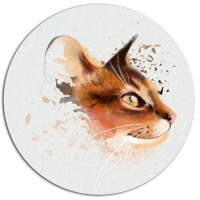 Designart Lovely Brown Cat Watercolor Sketch DiscLarge Animal Metal Artwork