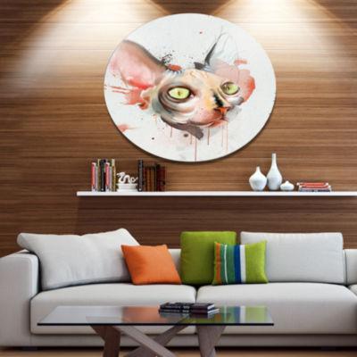 Designart Red Faced Cat Watercolor Sketch Disc Large Animal Metal Artwork