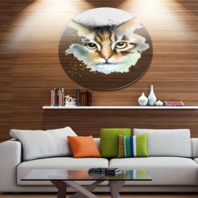 Designart Strong Look of Cat Watercolor Sketch Disc Large Animal Metal Artwork