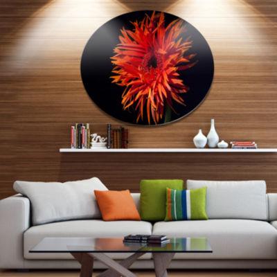 Designart Spider Gerbera Daisy Watercolor Disc Flowers Large Metal Circle Wall Artwork