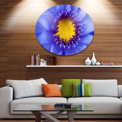Designart Blue Lotus Close up Watercolor Disc Flowers Large Metal Circle Wall Artwork