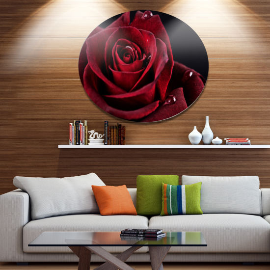 Designart Red Rose with Raindrops on Black Disc Flowers Large Metal Circle Wall Artwork