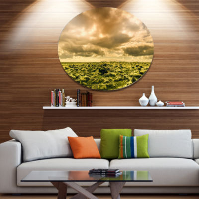 Designart Beautiful View of Sky and Moss Disc Large Landscape Large Metal Circle Wall Art