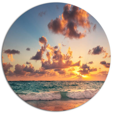 Designart Sunrise on Beach of Caribbean Sea Disc Large Beach Large Metal Circle Wall Art