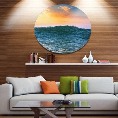 Designart Sunrise Light Shine on Sea Water Disc Large Beach Large Metal Circle Wall Art