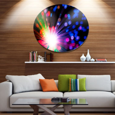 Designart Multicolor Optical Fiber Lighting Disc Large Abstract Large Metal Circle Wall Art