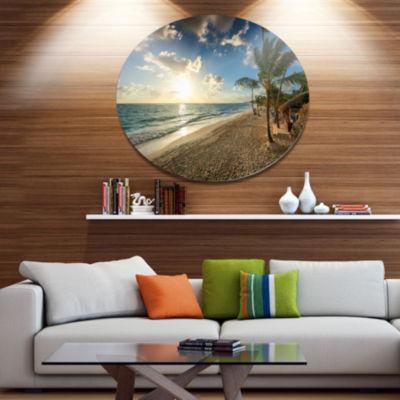 Designart Beautiful Caribbean Vacation Beach DiscLarge Beach Large Metal Circle Wall Art