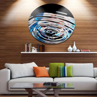 Designart Beautiful Splash of Purple Water Disc Large Abstract Large Metal Circle Wall Art