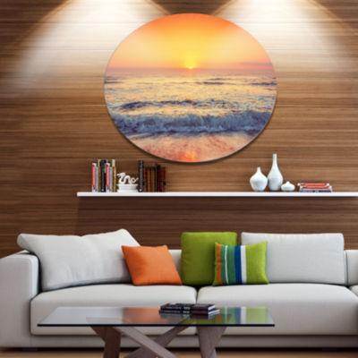 Designart Yellow Cloudscape over Seashore Disc Large Beach Large Metal Circle Wall Art
