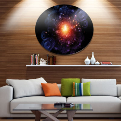 Designart Abstract Fractal Gears and Lights Disc Flowers Large Metal Circle Wall Artwork