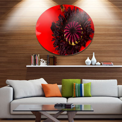 Designart Garden in Full Bloom on Summer Day DiscFlowers Large Metal Circle Wall Artwork