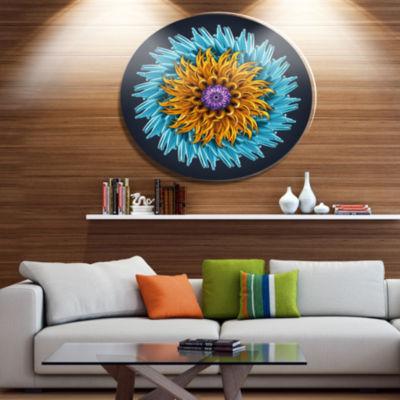 Designart Yellow Blue Abstract 3D Flower Disc Flowers Large Metal Circle Wall Artwork