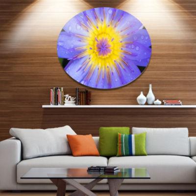 Designart Blooming Violet Lotus Close up Disc Flowers Large Metal Circle Wall Artwork