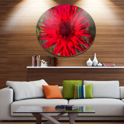 Designart Beautiful Dahlia Flower on Green Disc Flowers Large Metal Circle Wall Artwork