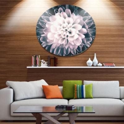 Designart Macro Chrysanthemum Flower Disc FlowersLarge Metal Circle Wall Artwork