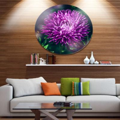 Designart Chrysanthemum Flower with Bokeh Disc Flowers Large Metal Circle Wall Artwork