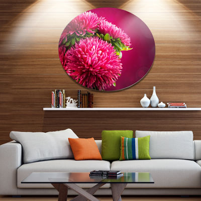 Designart Pink Flowers of Asters on Red Disc Flowers Large Metal Circle Wall Artwork