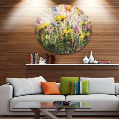 Designart Coreopsis Flowers and Paint Splashes Disc Flower Artwork on Large Metal Circle Wall Art