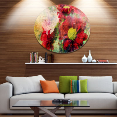 Designart Red Flowers and Watercolor Splashes DiscFlower Artwork on Large Metal Circle Wall Art