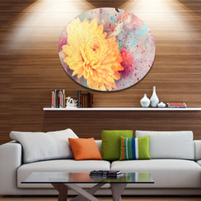 Designart Aster Flower with Watercolor Splashes Disc Flower Artwork on Large Metal Circle Wall Art