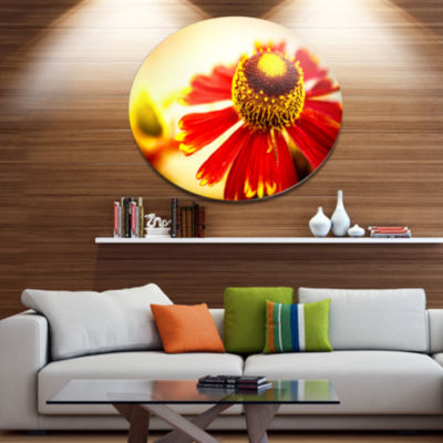 Designart Beautiful Flower on Yellow Background Disc Flower Artwork on Large Metal Circle Wall Art