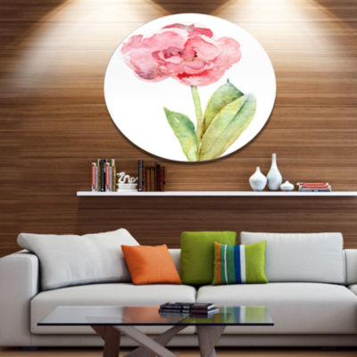 Designart Single Pink Tulip on White Background Disc Flower Artwork on Large Metal Circle Wall Art