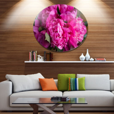 Designart Pink Peonies on Wooden Background Disc Flower Artwork on Large Metal Circle Wall Art